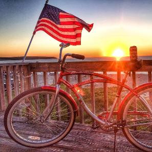 bud bike sunset